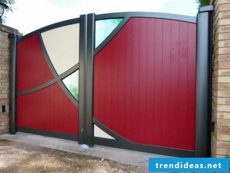 Metal garden gates aluminum gates red color glass panels