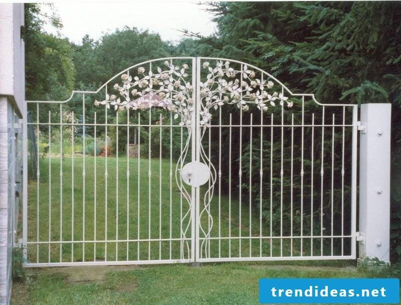 Metal garden gates two-piece forged roses