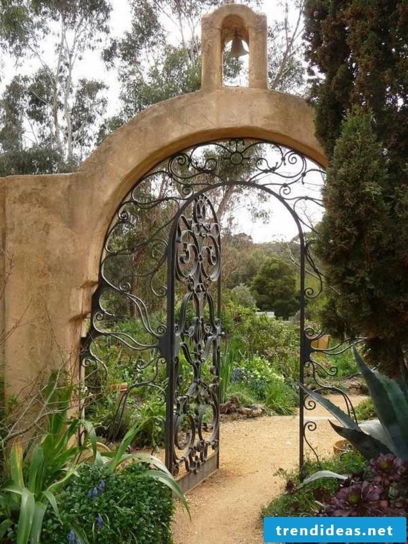 Metal garden gates wrough decorating