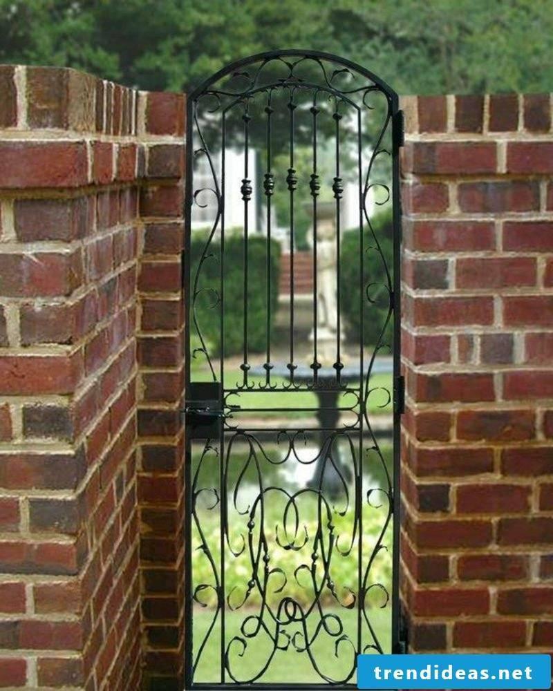 Metal garden gates wrought brick