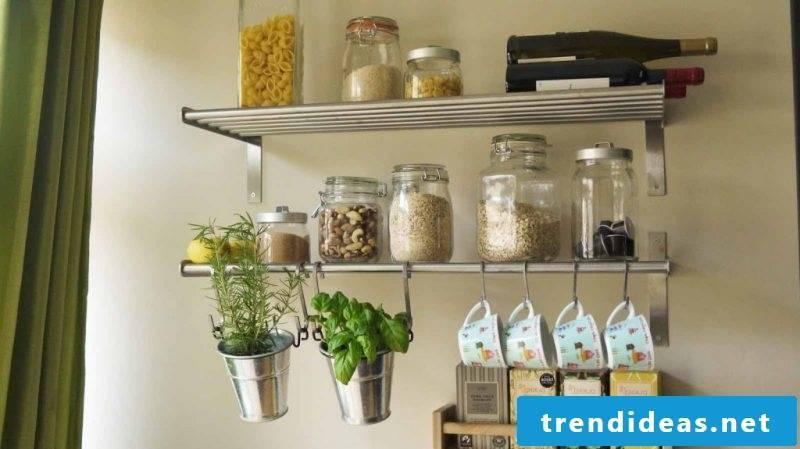 Kitchen shelf made of metal