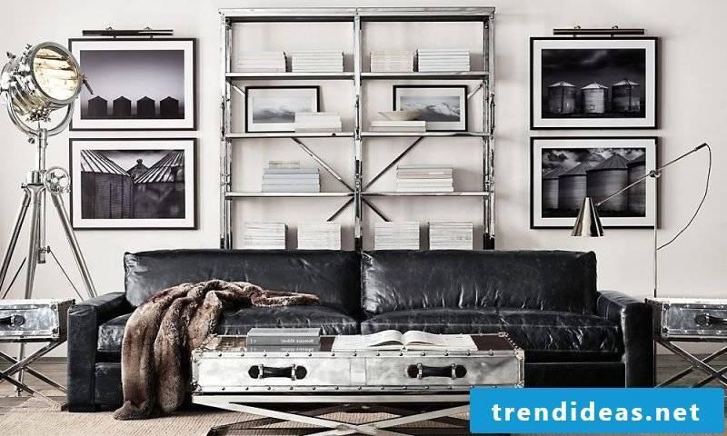 Metal shelves in the living room!
