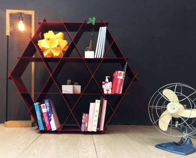Metal shelf in the living room