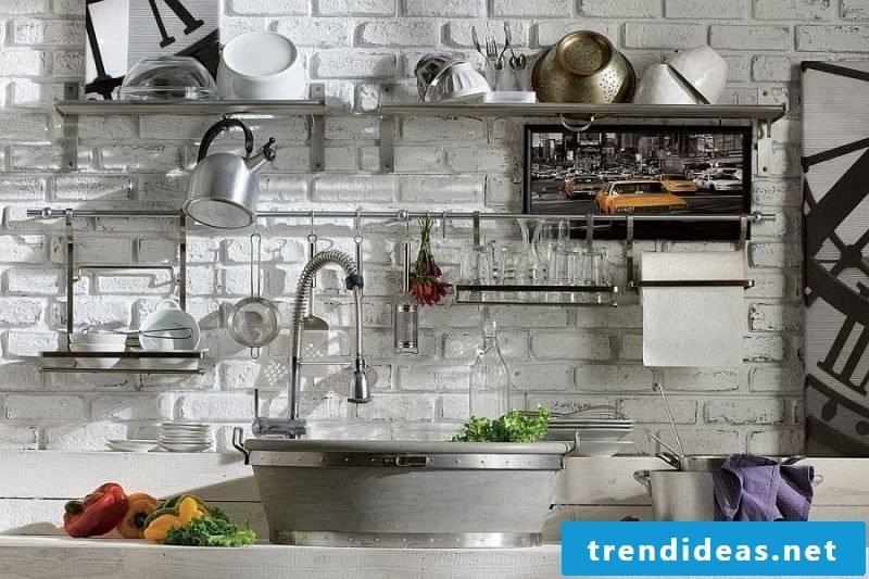 Metal wall shelf for the kitchen