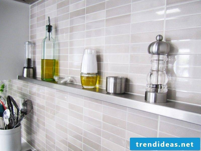 Modern metal shelves in the kitchen