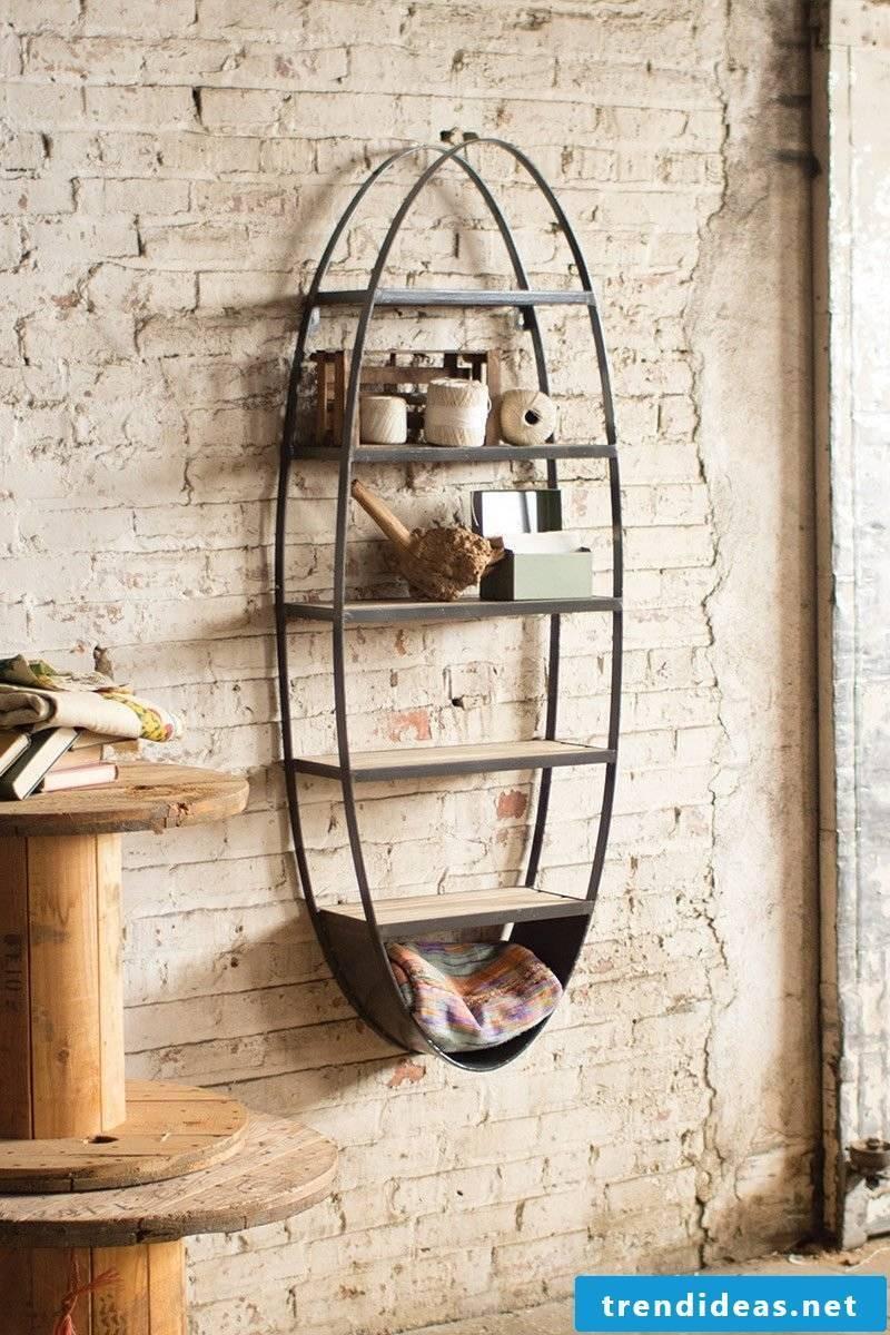 Modern metal shelves