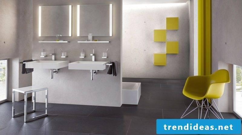 Creative bathroom design two illuminated mirrors