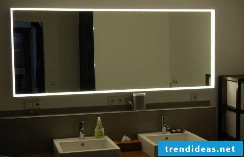 big lighted mirror bathroom