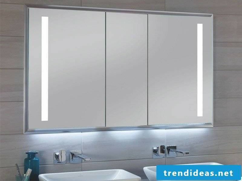 Mirror cabinet with integrated lighting bathroom