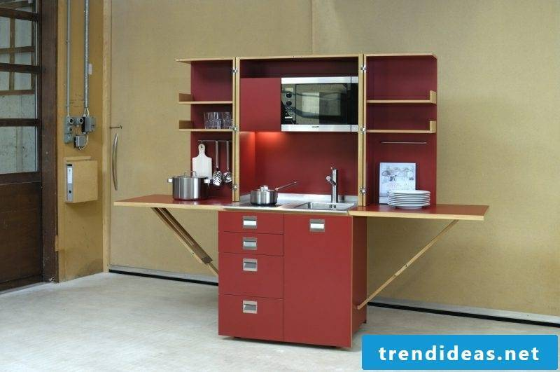 mobile kitchen in red gorgeous design