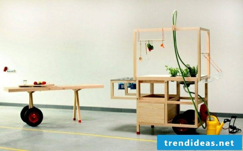 mobile kitchen wood and stainless steel modern and practical design