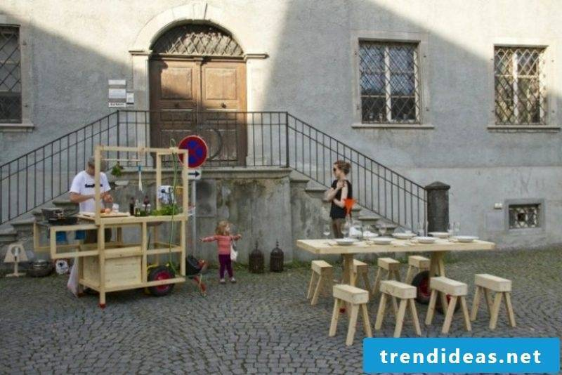 to cook practical mobile kitchen in solid wood outdoors
