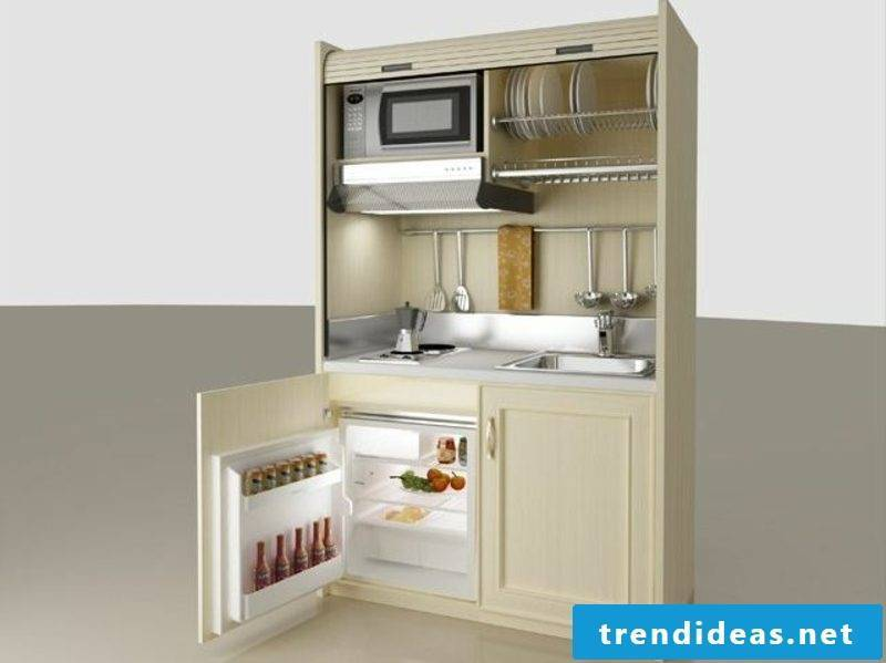 mobile kitchen oven and fridge built-in