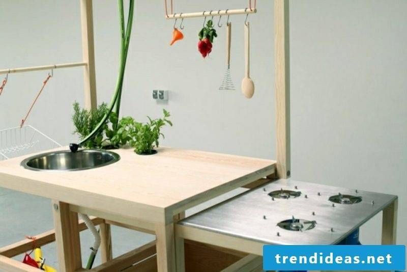 mobile kitchen with gas cooker and sink