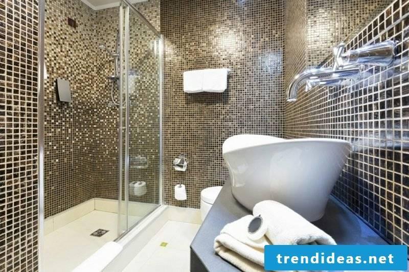 Bathroom design with mosaic tiles