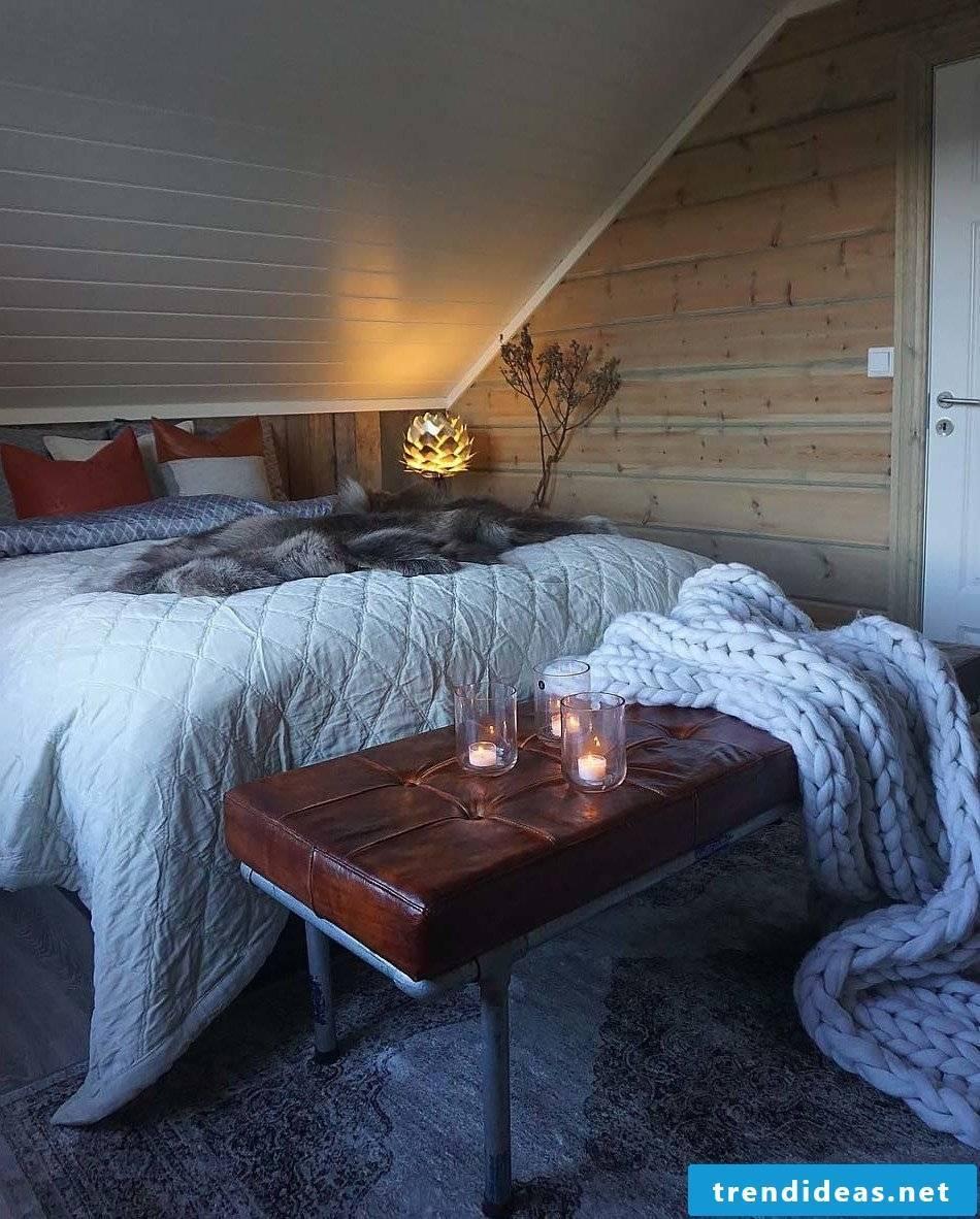 Modern bedroom with fur set up