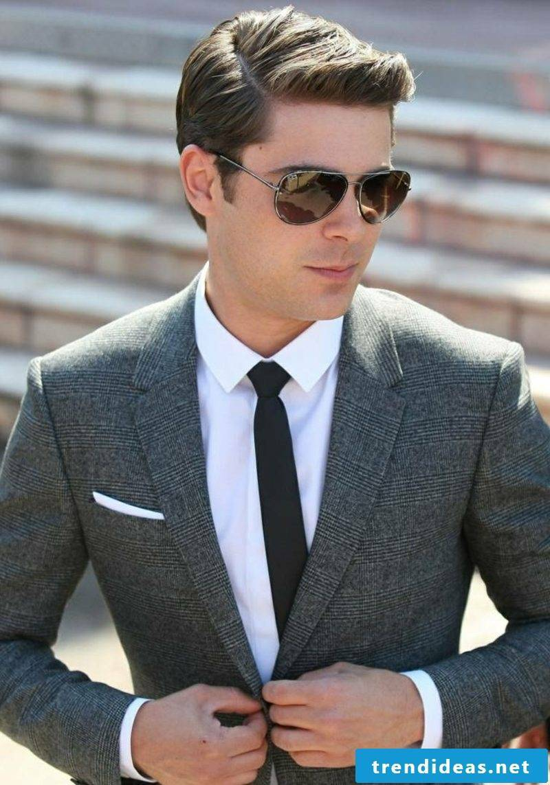 elegant men's hairstyle with side parting
