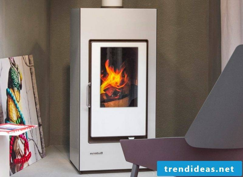 Modern stoves from Buderus are popular in white