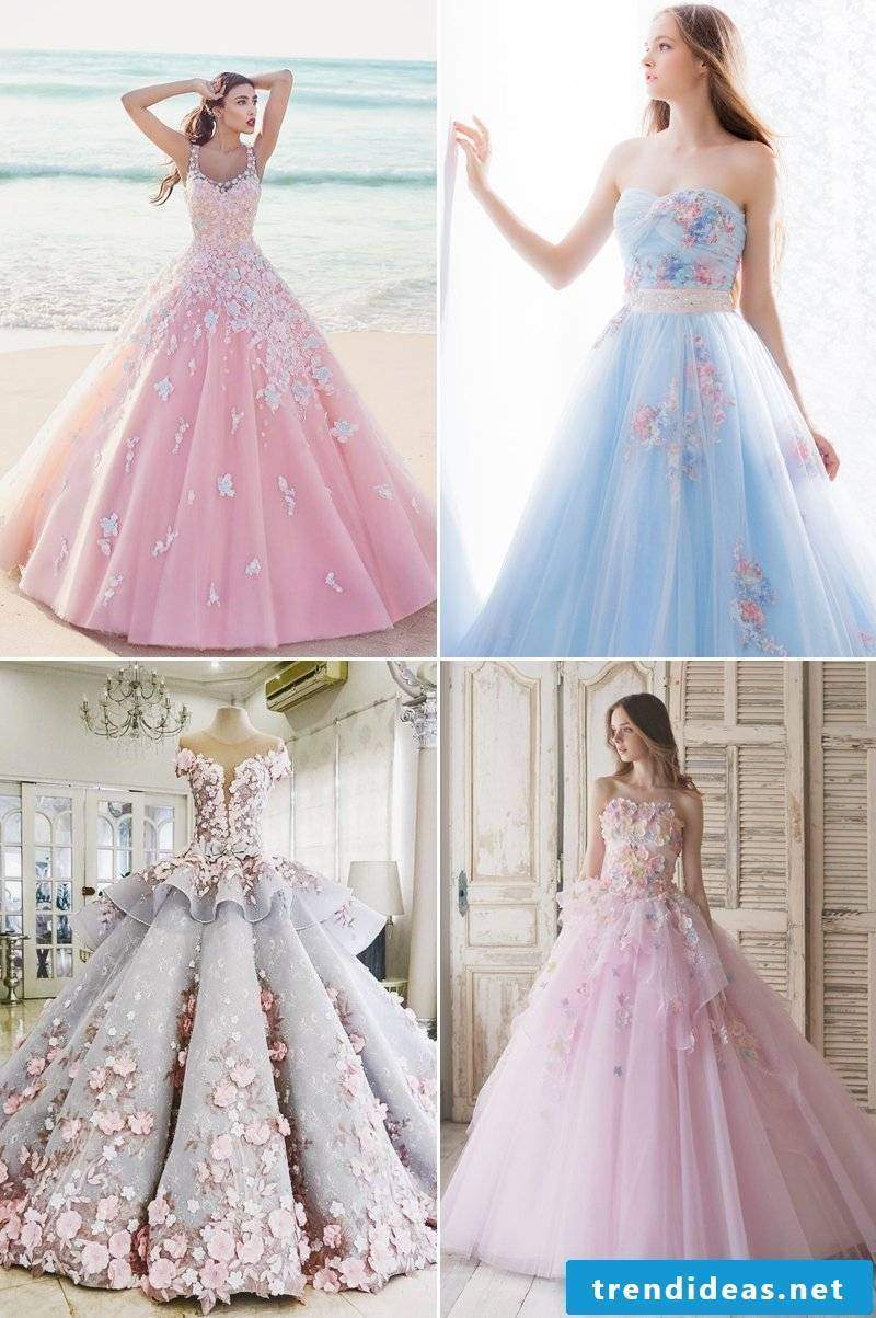 Great idea for a wedding dress in pastel colors
