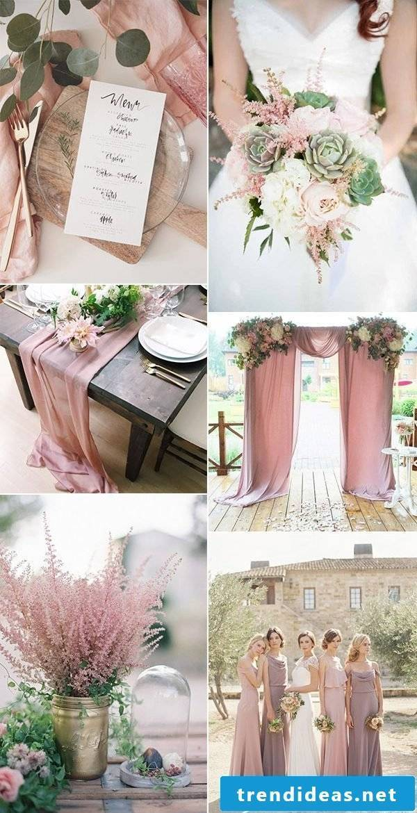 The old rose color as the main color for your wedding in 2018