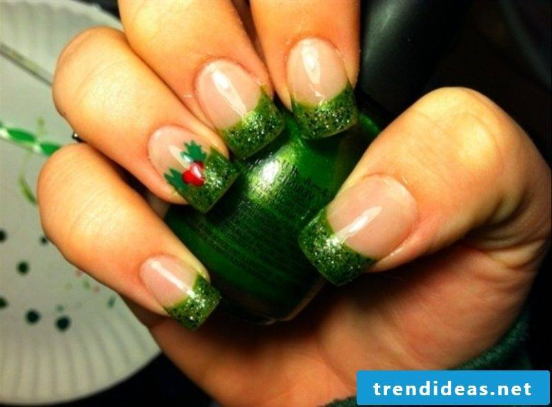 Nailart gallery French nails glitter paint