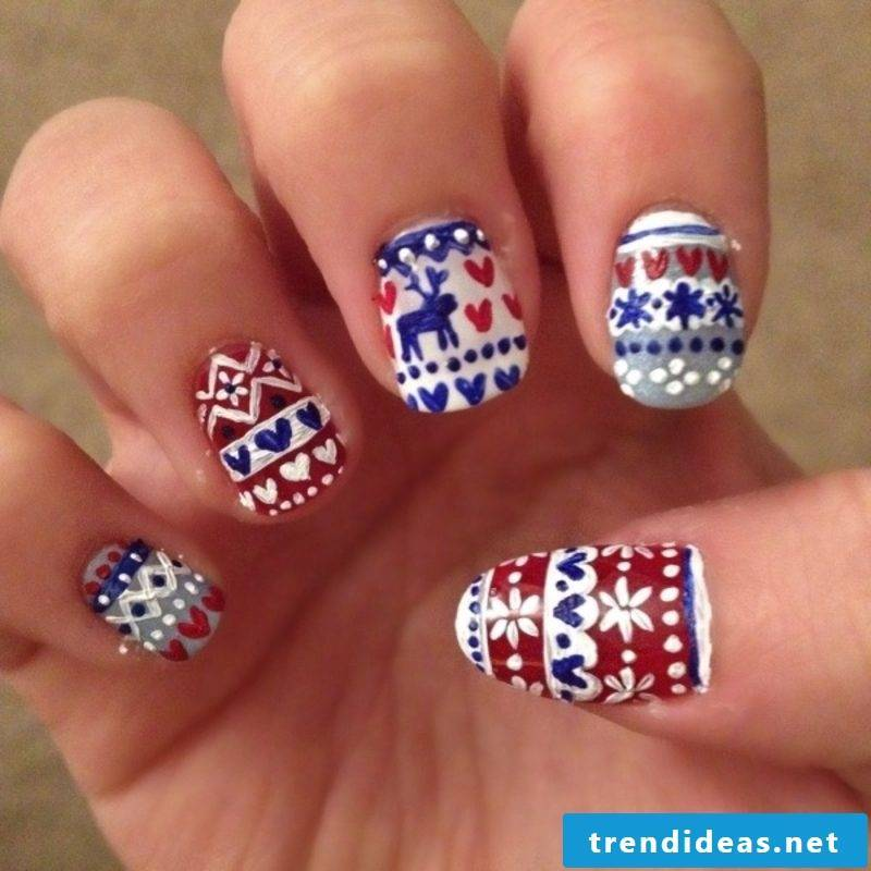 Nail Art Gallery Winter Textile Imitation