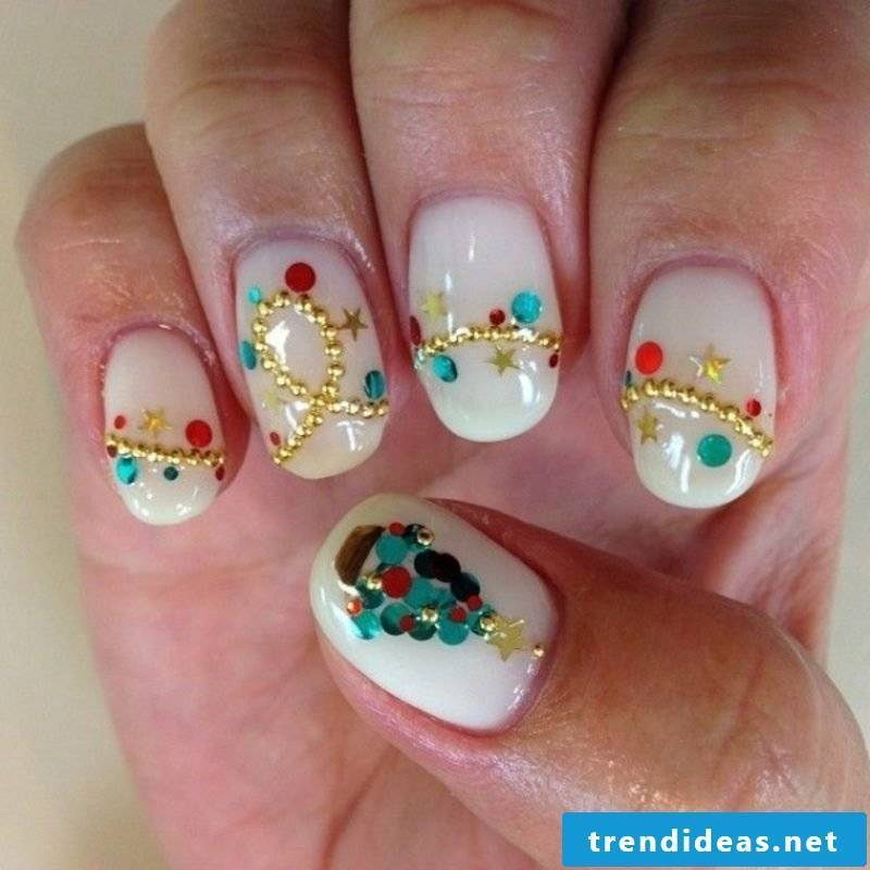 Nailart Gallery Winter Fairy Lights Glittering Stones