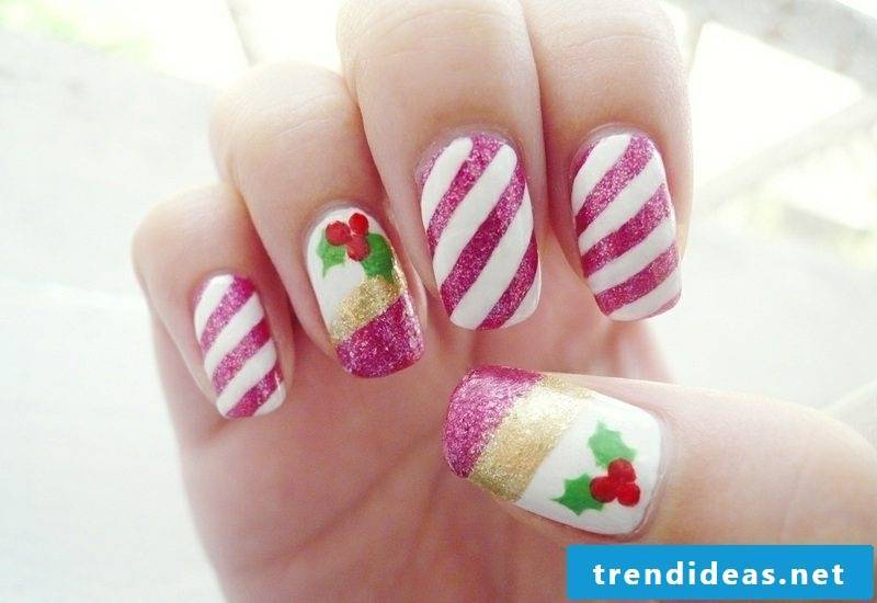 Nailart gallery winter nails candy cane