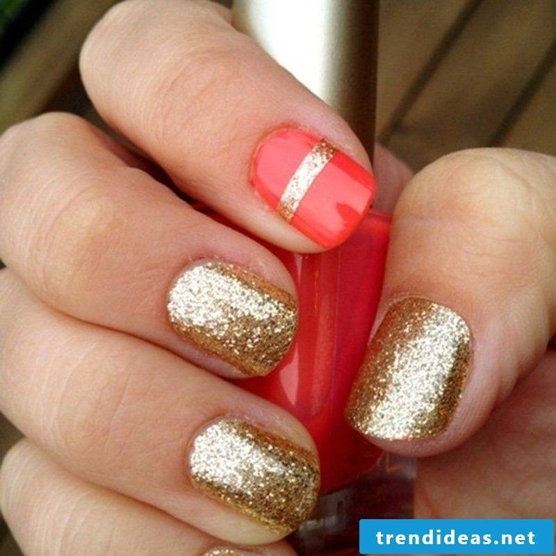 Nailart Gallery Winter Golden and Red