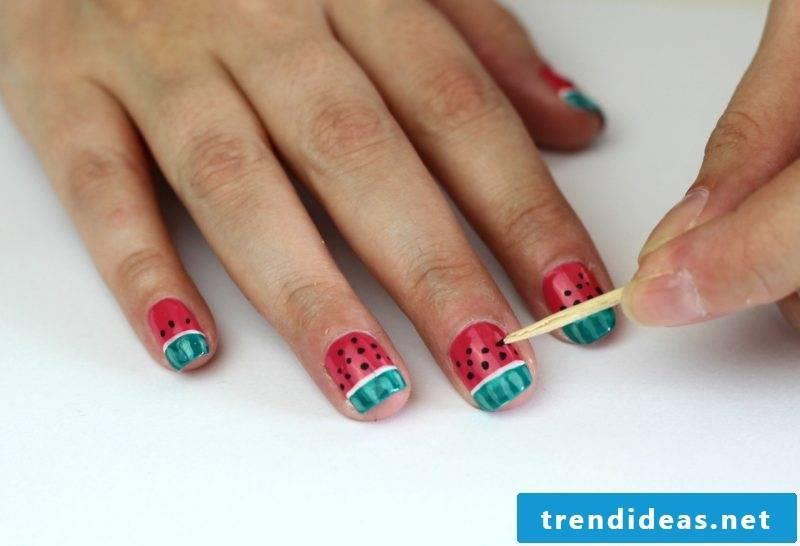 Nail art instructions watermelon