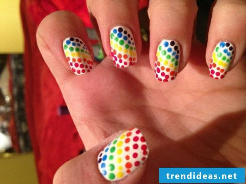 Nail art design attractive colored dots