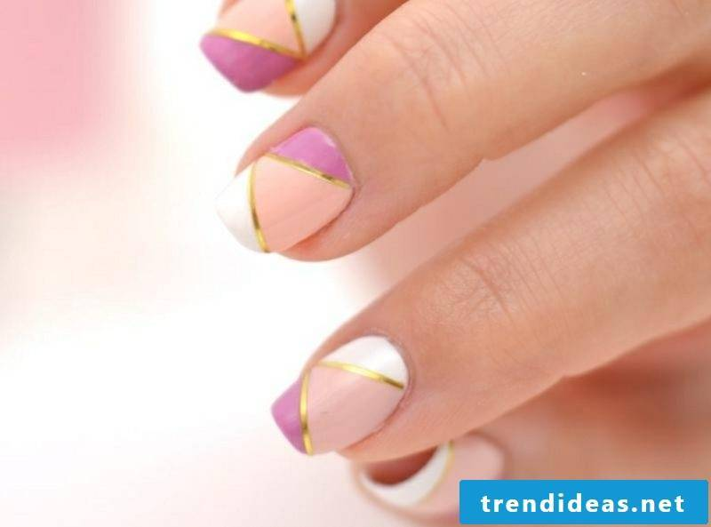 Nail design with decorative stripes