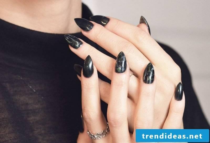 Marble Fingernails Black
