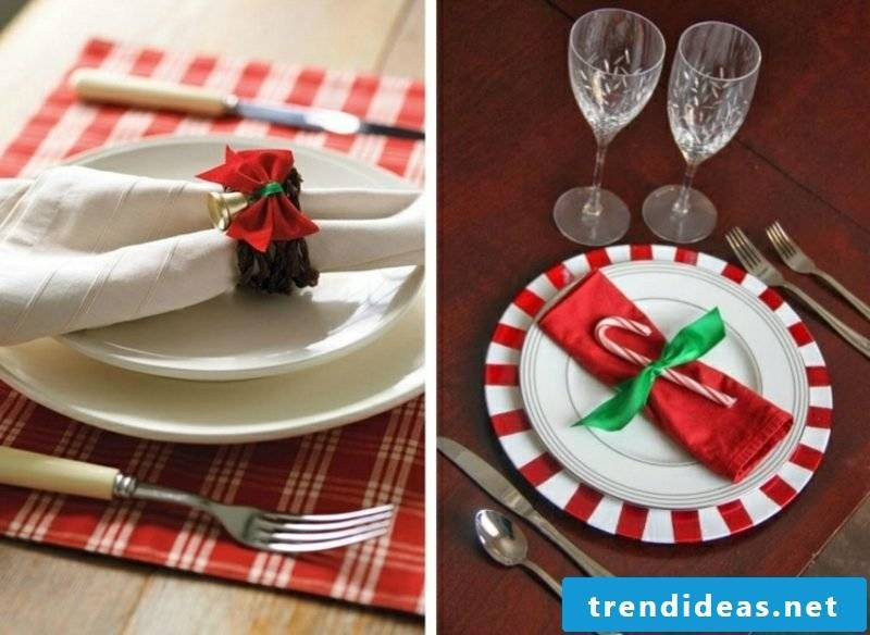 Napkins fold for Christmas DIY napkin rings loop