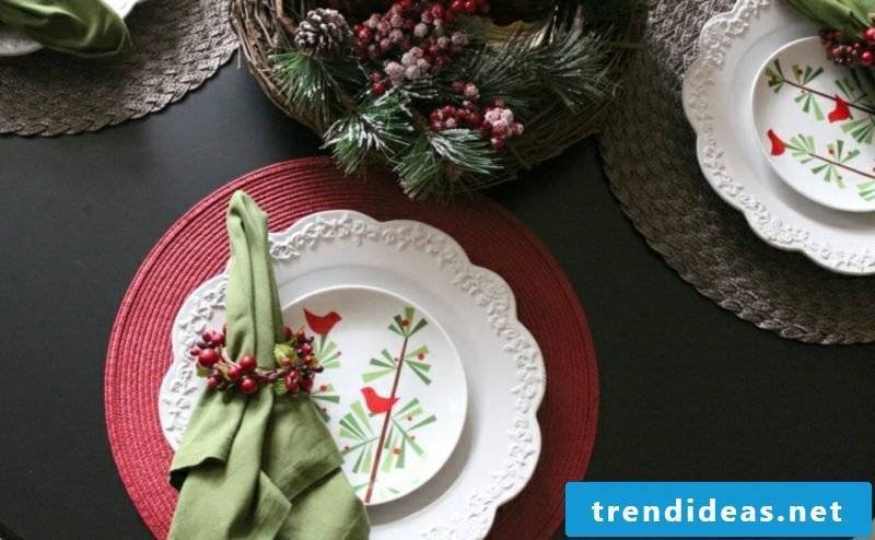 Napkins are folding for Christmas napkin ring berries