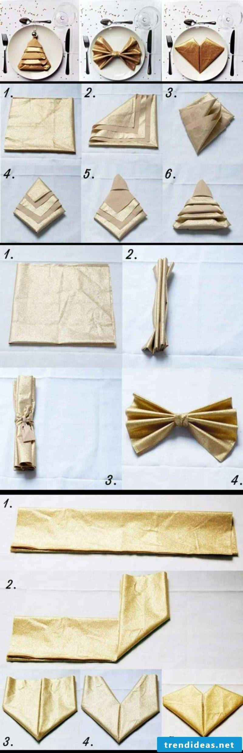 Napkins fold for Christmas picture instructions