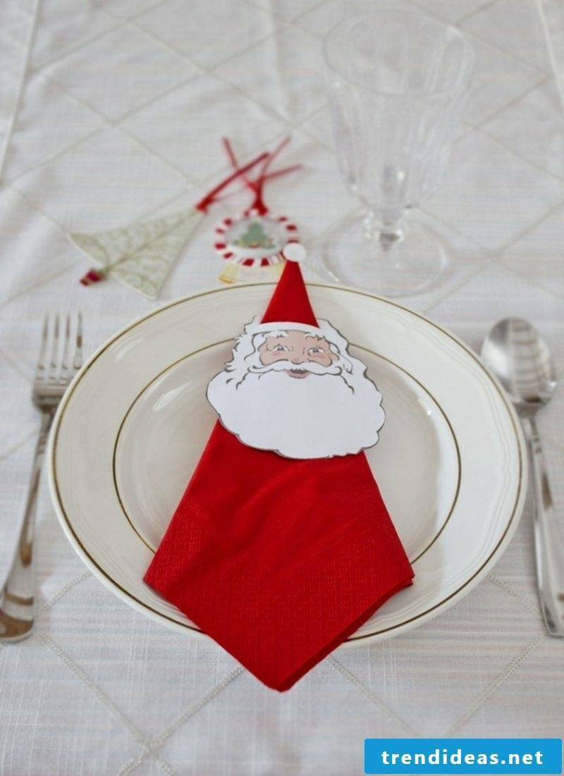 Paper napkins fold table top for Christmas