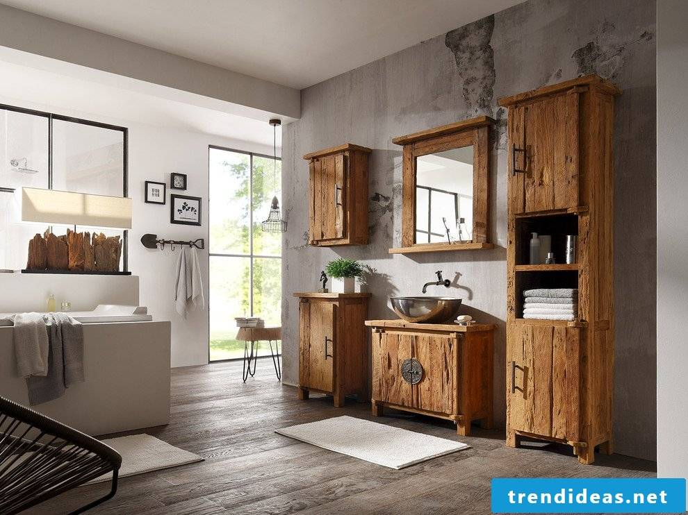 Solid wood furniture in the bathroom