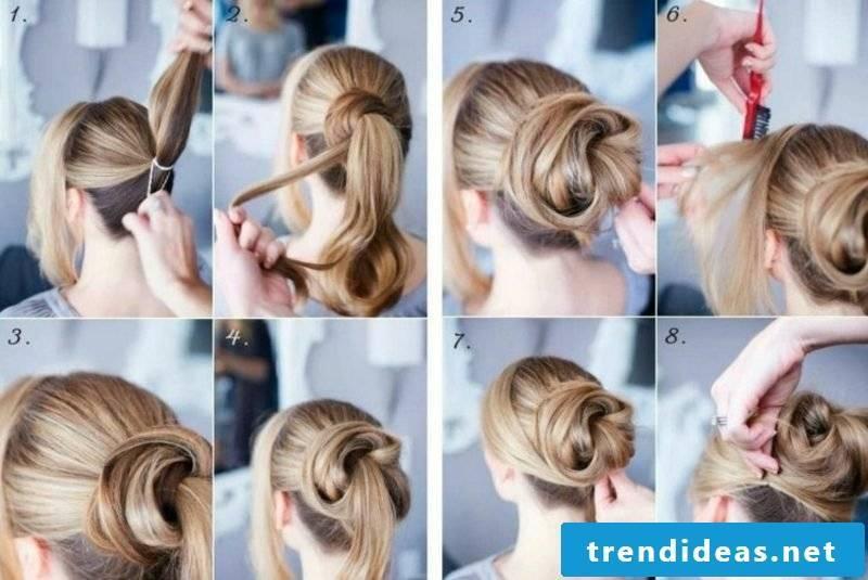 Updos make bun from a ponytail itself