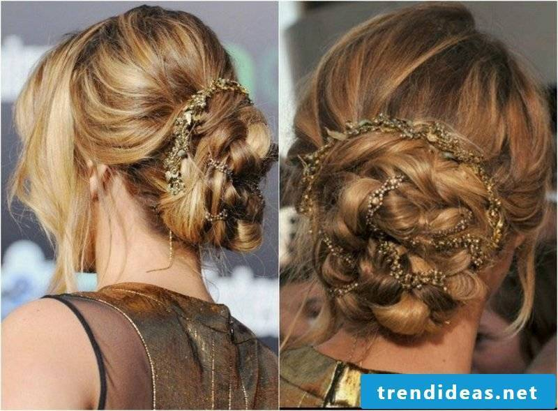 Updos long hair high braided hairstyle with hair accessories