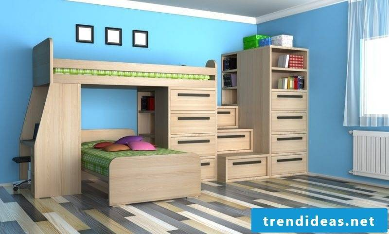 children's room ideas bed wood wall design blue nursery decor