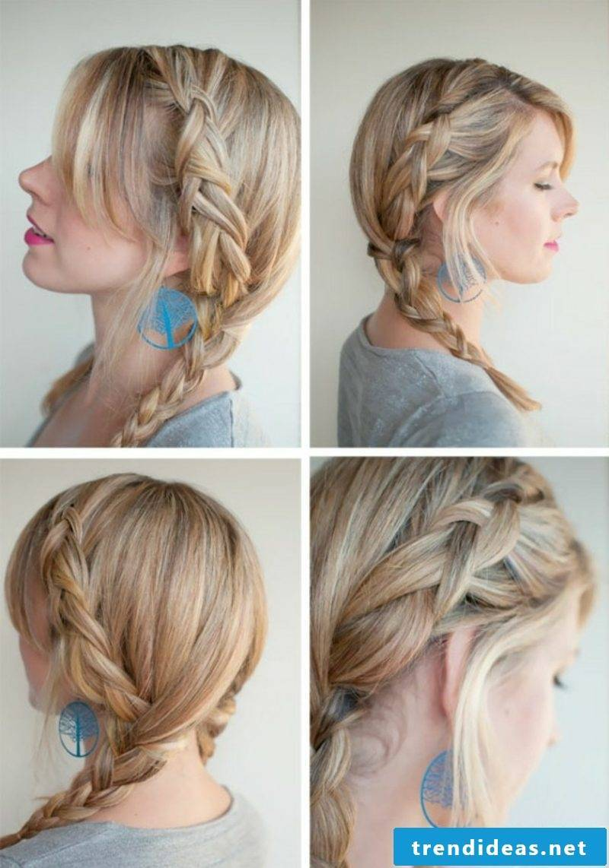 Braided hairstyles Instructions lateral braid Oktoberfest