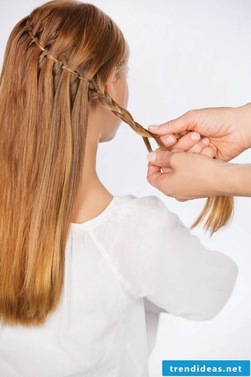 Braided hairstyles long hair waterfall braid