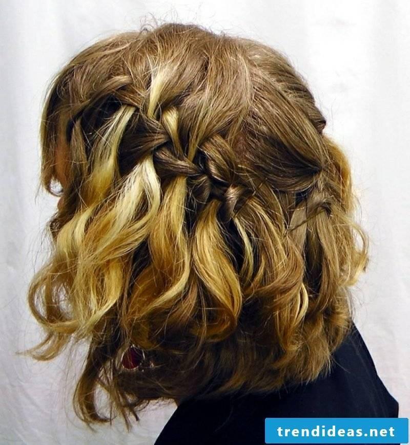 half-open hairstyles Waterfall braid medium-long hair