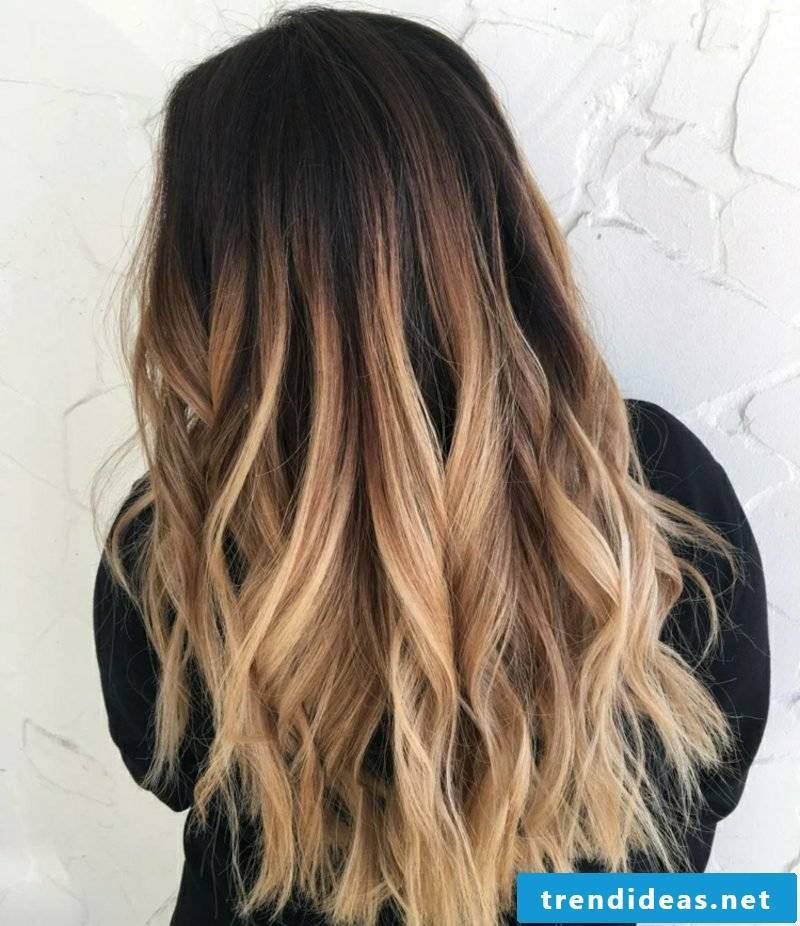 Ombre brown blonde hair tips