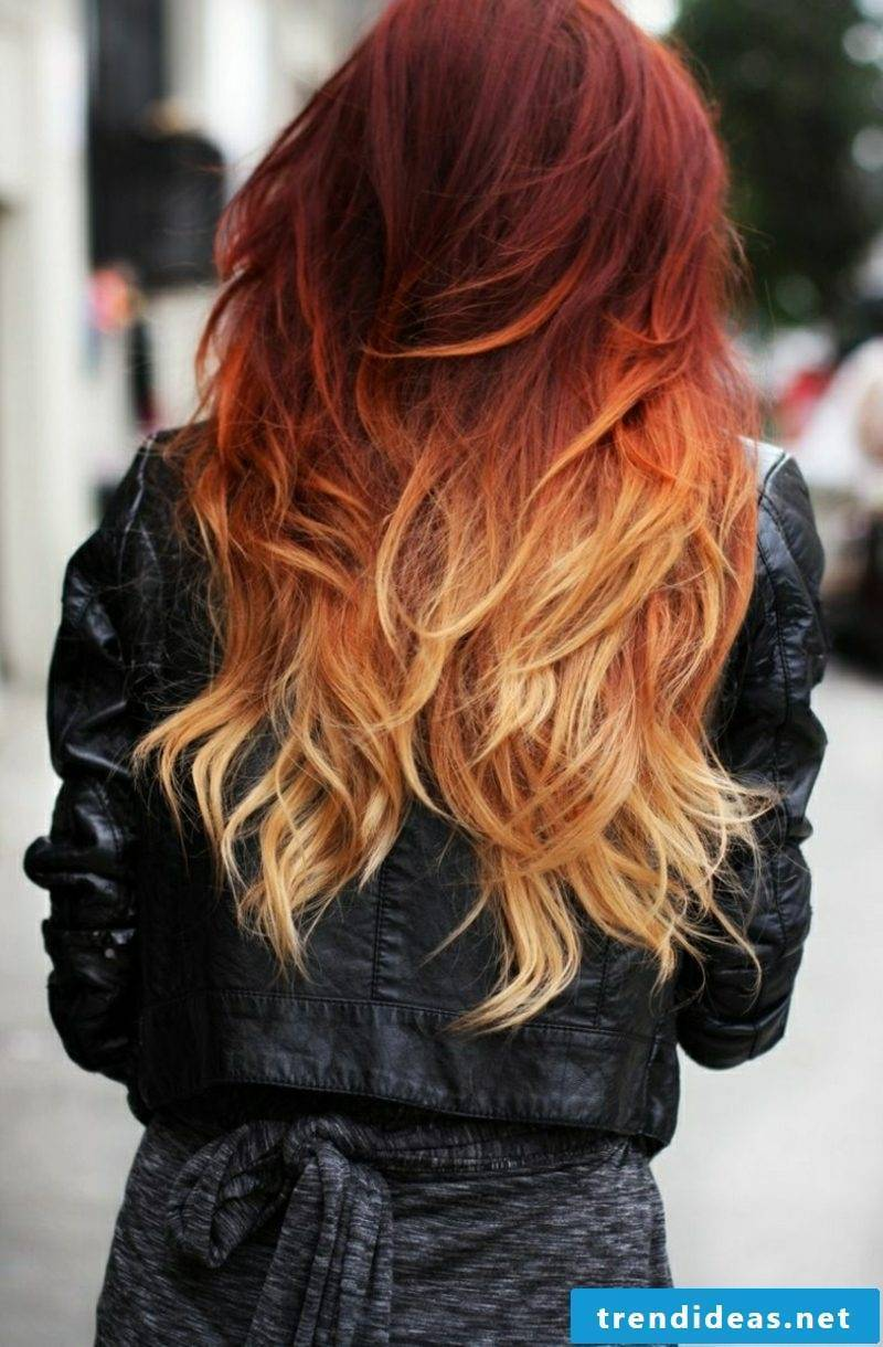 Painting hair ombre look red hairline blonde lace