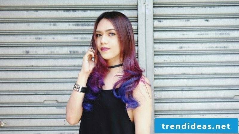 Balayage technique beautiful hair colors violet