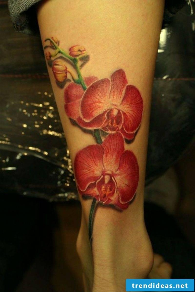 orchids tattoo on leg