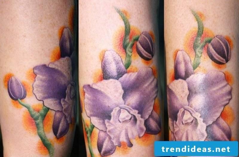 orchids tattoo purple ink sleeve