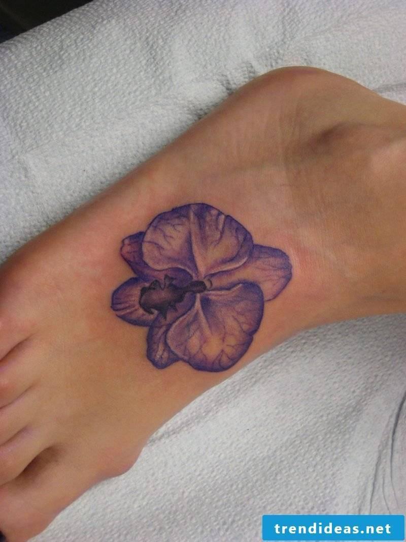orchids tattoo blue